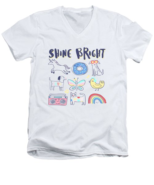 Shine Bright - Baby Room Nursery Art Poster Print Men's V-Neck T-Shirt