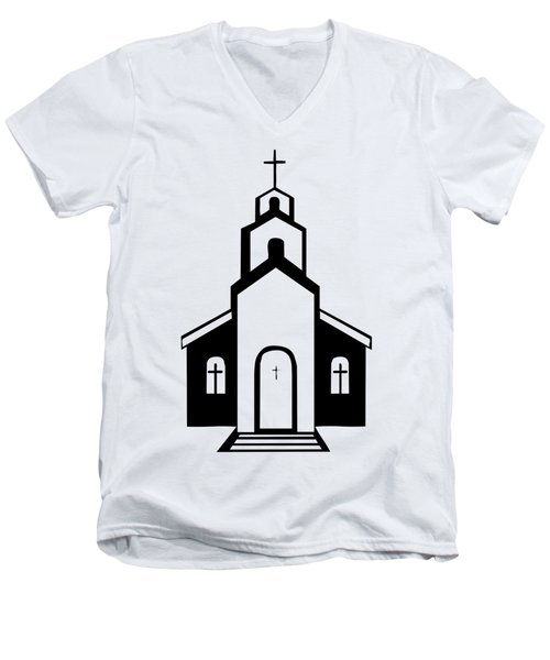Men's V-Neck T-Shirt featuring the digital art Silhouette Of A Christian Church by Rose Santuci-Sofranko