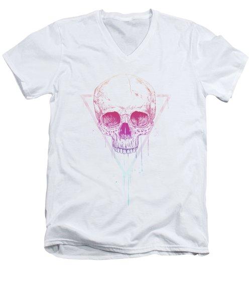 Skull In Triangle Men's V-Neck T-Shirt