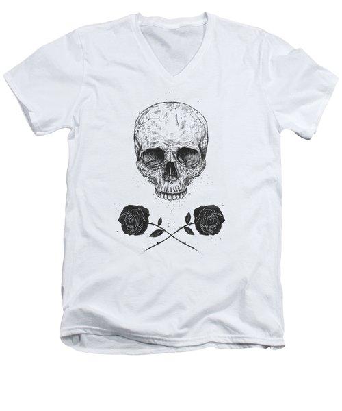Skull N' Roses Men's V-Neck T-Shirt