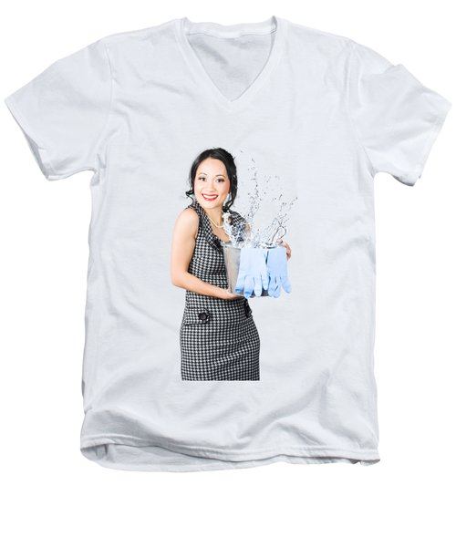 Smiling Female Cleaner Ready To Start Housework Men's V-Neck T-Shirt