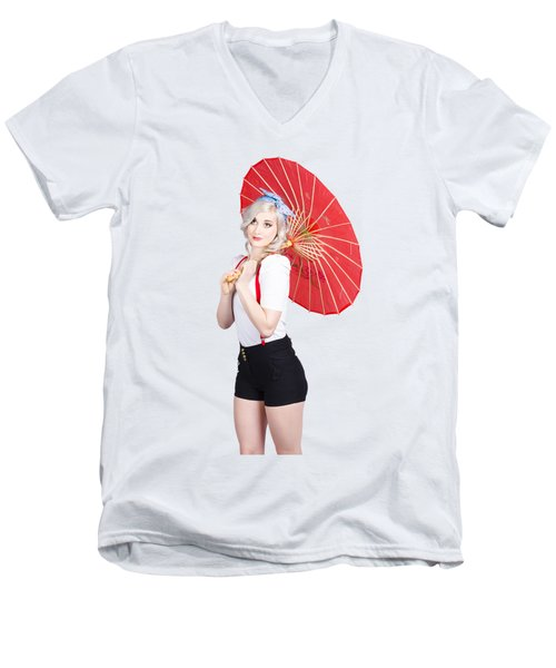 Smiling Retro Woman Holding A Red Umbrella  Men's V-Neck T-Shirt