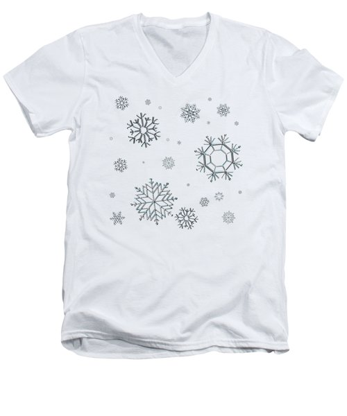 Snowflakes On Blue Men's V-Neck T-Shirt