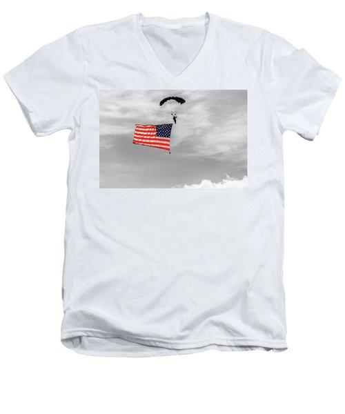 Socom Flag Jump In Selective Color Men's V-Neck T-Shirt