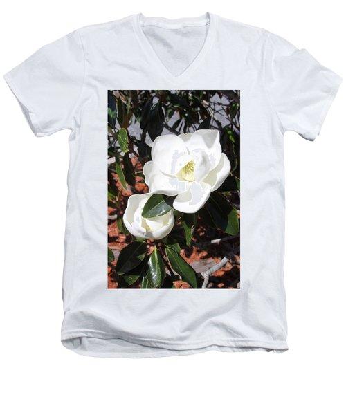 Sosouthern Magnolia Blossoms Men's V-Neck T-Shirt