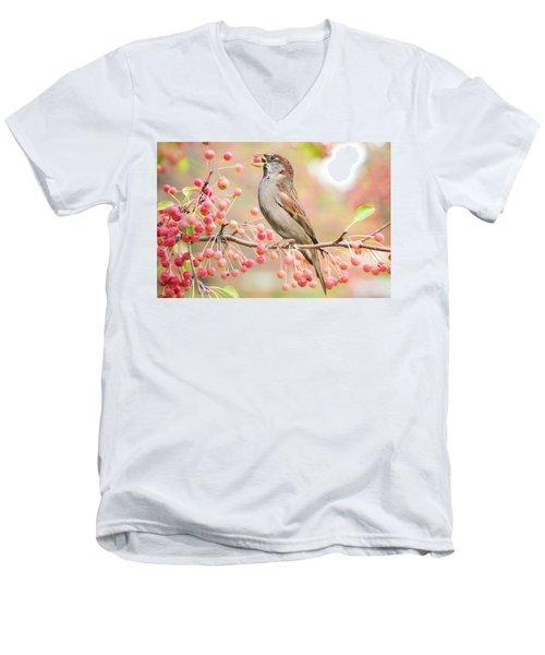 Sparrow Eating Berries Men's V-Neck T-Shirt