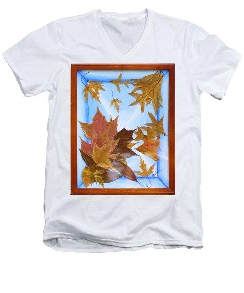 Splattered Leaves Men's V-Neck T-Shirt