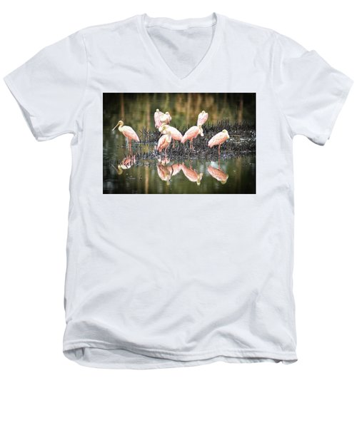 Spoonbill Reflection Men's V-Neck T-Shirt