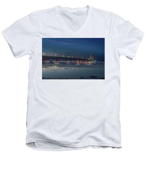Spring Evening At The Mackinac Bridge Men's V-Neck T-Shirt