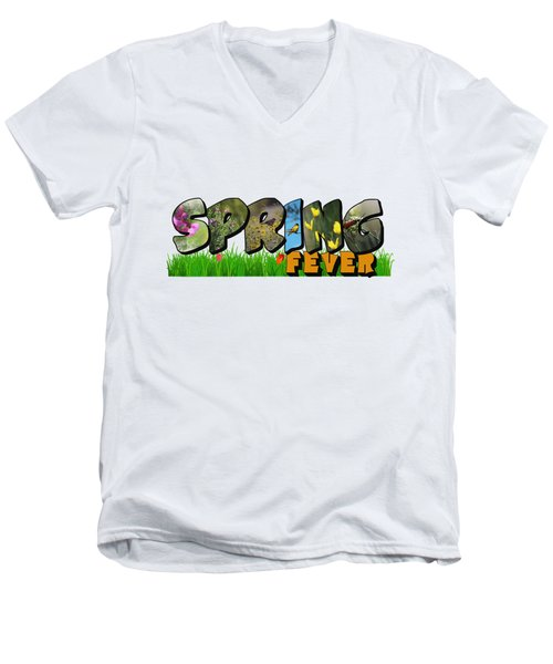 Spring Fever Big Letter Men's V-Neck T-Shirt