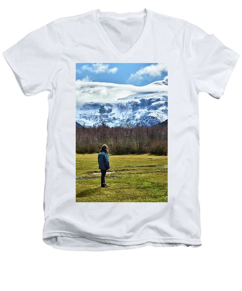 Men's V-Neck T-Shirt featuring the photograph Standing Before The Tronador Hill by Eduardo Jose Accorinti