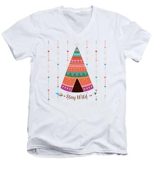Stay Wild - Boho Chic Ethnic Nursery Art Poster Print Men's V-Neck T-Shirt