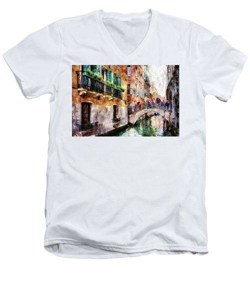 People On Bridge Over Canal In Venice, Italy - Watercolor Painting Effect Men's V-Neck T-Shirt