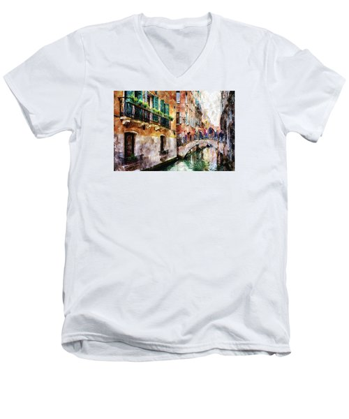Men's V-Neck T-Shirt featuring the digital art Stories In The Air by Eduardo Jose Accorinti
