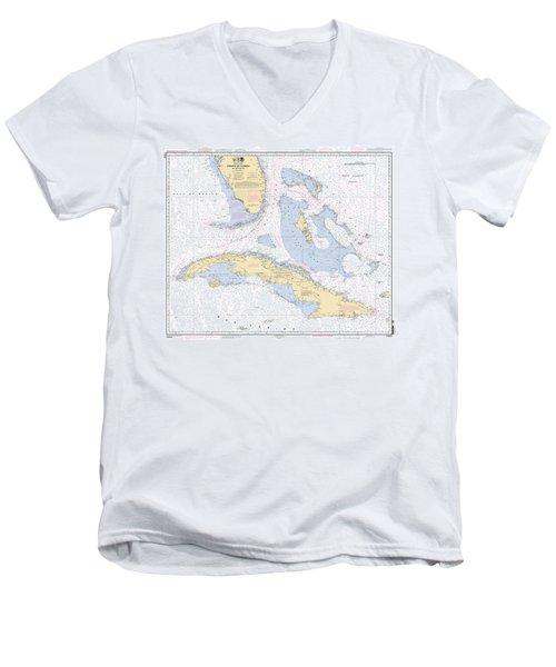 Straits Of Florida Nautical Chart Men's V-Neck T-Shirt