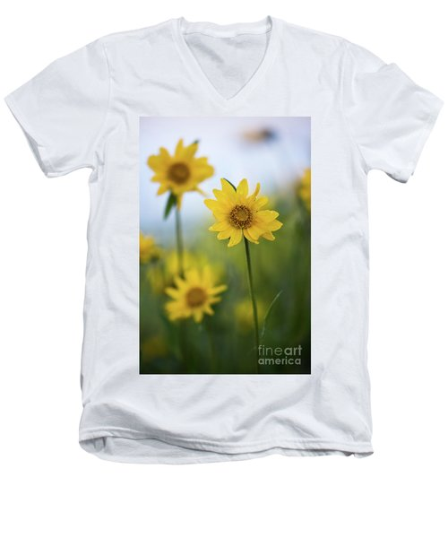 Men's V-Neck T-Shirt featuring the photograph Sunflower  by Vincent Bonafede