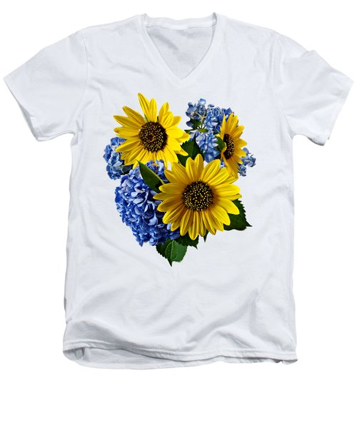 Sunflowers And Hydrangeas Men's V-Neck T-Shirt