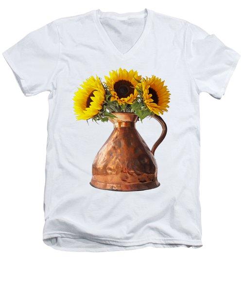 Sunflowers In Copper Pitcher On White Men's V-Neck T-Shirt