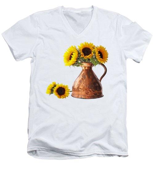 Sunflowers In Copper Pitcher On White Square Men's V-Neck T-Shirt