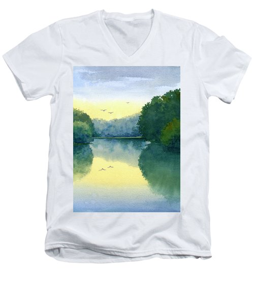 Sunset At Memorial Park Men's V-Neck T-Shirt