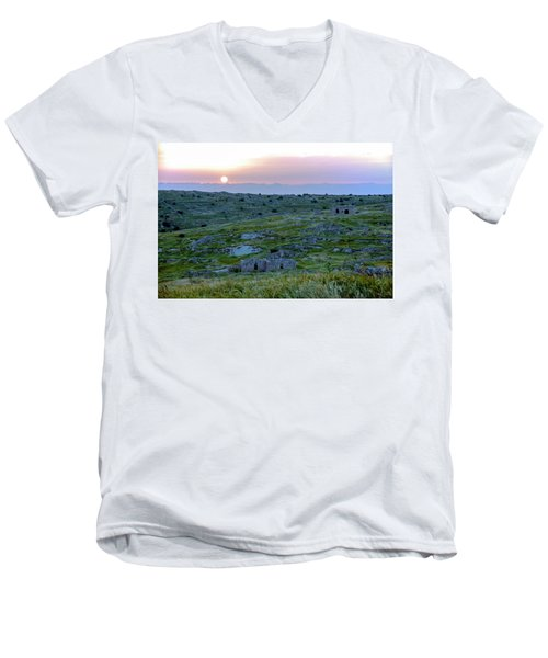 Sunset Over Um A-shekef, Israel Men's V-Neck T-Shirt