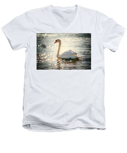 Swan On Golden Waters Men's V-Neck T-Shirt