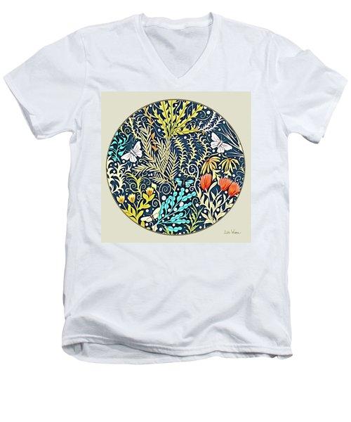 Tapestry Design Button Men's V-Neck T-Shirt