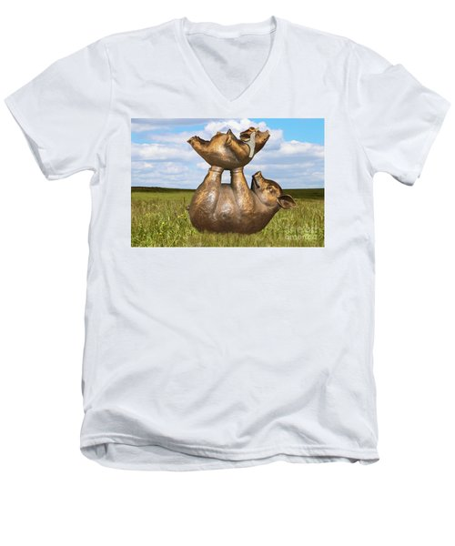 Teaching A Pig To Fly - Mother Pig In Grassy Field Holds Up Baby Pig With Flying Helmet To Teach It  Men's V-Neck T-Shirt