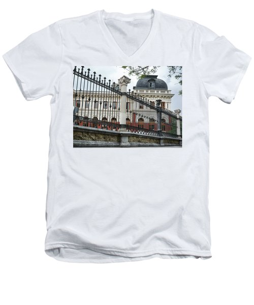 Men's V-Neck T-Shirt featuring the photograph The Back Of The Ministry Of Agriculture Building In Madrid by Eduardo Jose Accorinti