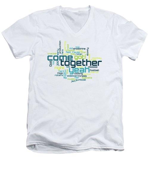 The Beatles - Come Together Lyrical Cloud Men's V-Neck T-Shirt