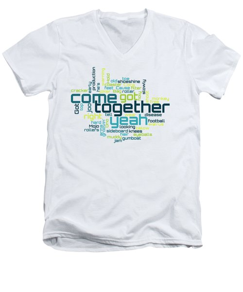 The Beatles - Come Together Lyrical Cloud Men's V-Neck T-Shirt