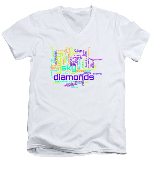 The Beatles - Lucy In The Sky With Diamonds Lyrical Cloud Men's V-Neck T-Shirt