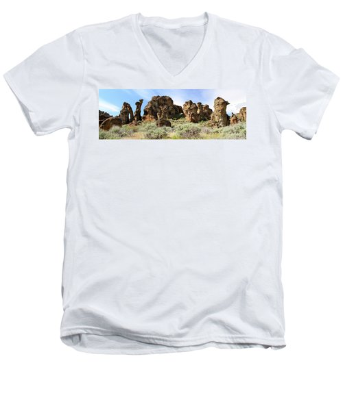 Arches Hoodoos And Castles The Big Picture Little City Of Rocks Men's V-Neck T-Shirt