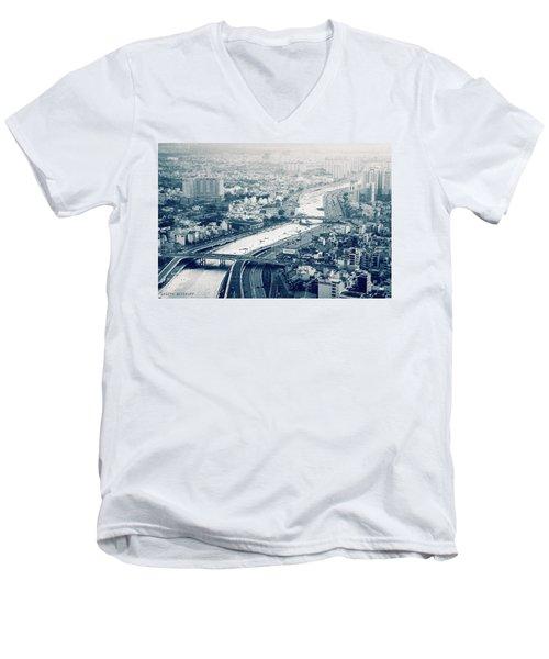 The Bisection Of Saigon Men's V-Neck T-Shirt