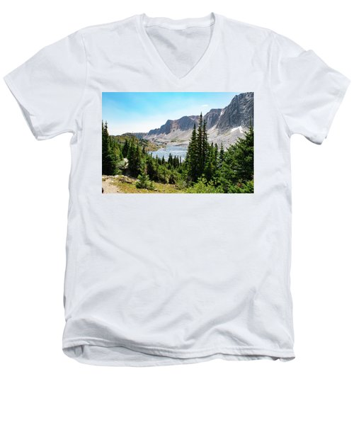 The Lakes Of Medicine Bow Peak Men's V-Neck T-Shirt