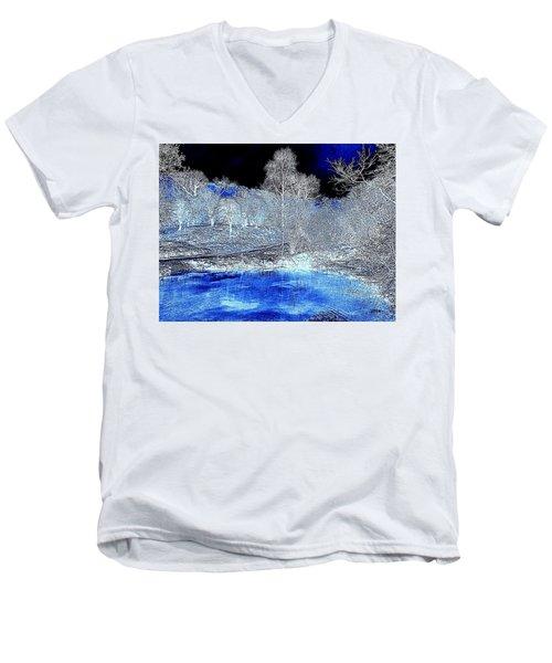 The  Pond In  Winter  -  Edit20-contest Men's V-Neck T-Shirt