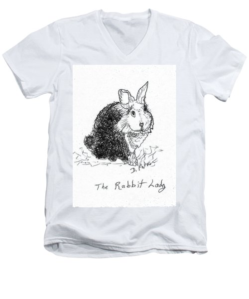 The Rabbit Lady Drawing Men's V-Neck T-Shirt