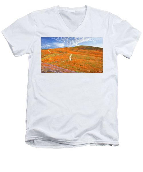 The Trail Through The Poppies Men's V-Neck T-Shirt