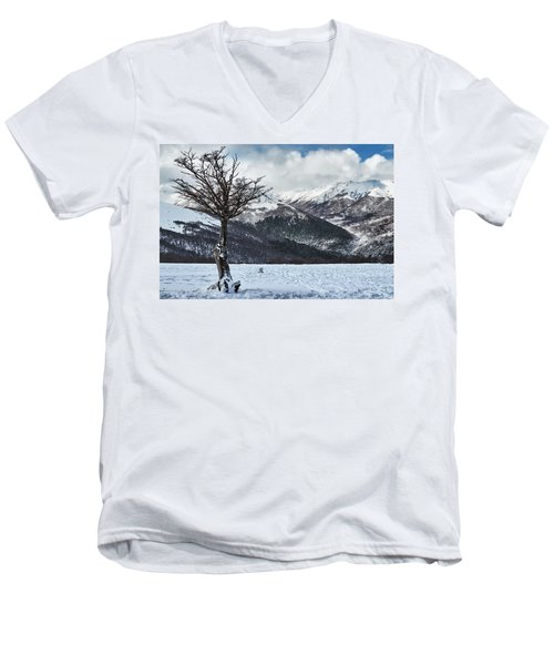 Men's V-Neck T-Shirt featuring the photograph The Tree And The Beautiful Snowy Paradise by Eduardo Jose Accorinti