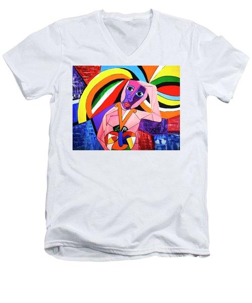 Thinking Of Peace Men's V-Neck T-Shirt