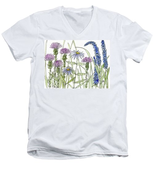 Thistle Asters Blue Flower Watercolor Wildflower Men's V-Neck T-Shirt