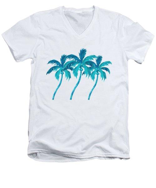 Three Coconut Palm Trees Men's V-Neck T-Shirt