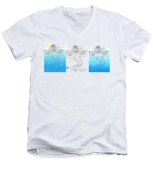 Three Mermaids All In A Row Men's V-Neck T-Shirt