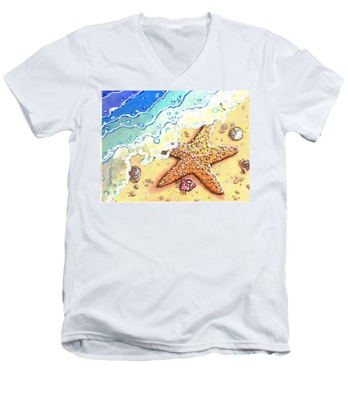 Tidal Beach Starfish Men's V-Neck T-Shirt