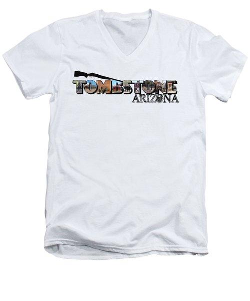 Tombstone Arizona Big Letter Men's V-Neck T-Shirt