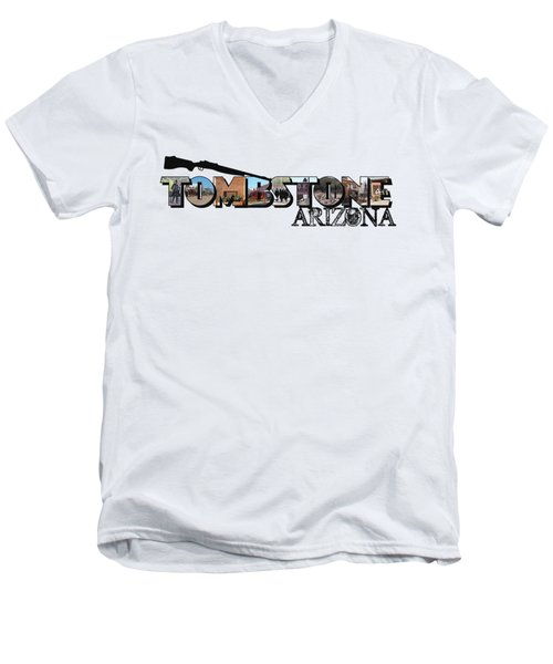 Tombstone Arizona Big Letter Men's V-Neck T-Shirt