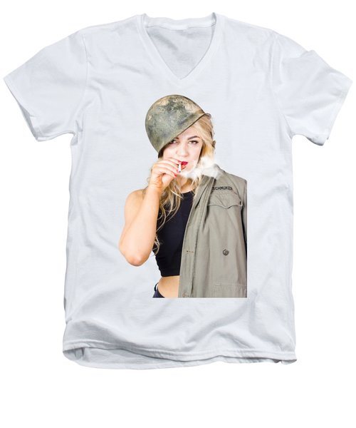 Tough And Determined Female Pin-up Soldier Smoking Men's V-Neck T-Shirt