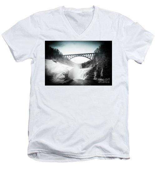 Upper Falls At Letchworth State Park Men's V-Neck T-Shirt