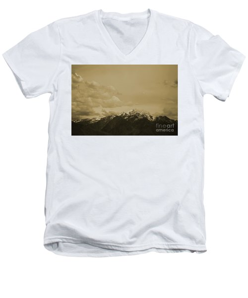Utah Mountain In Sepia Men's V-Neck T-Shirt