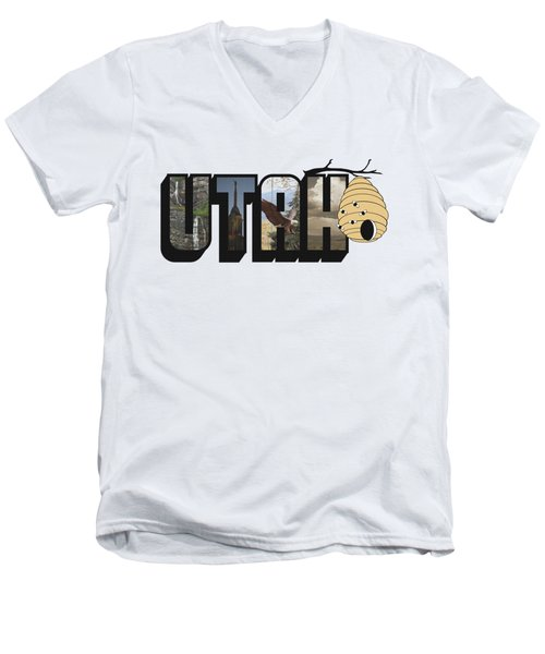 Utah The Beehive State Big Letter Men's V-Neck T-Shirt